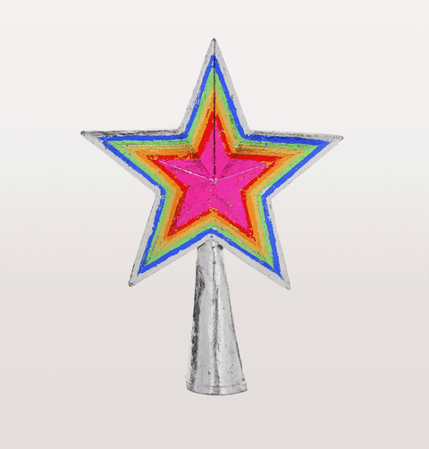 Neon star shaped Christmas tree topper large