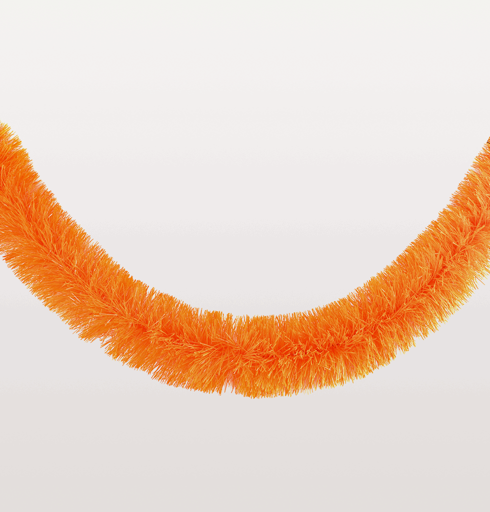 Neon orange Christmas tinsel garland