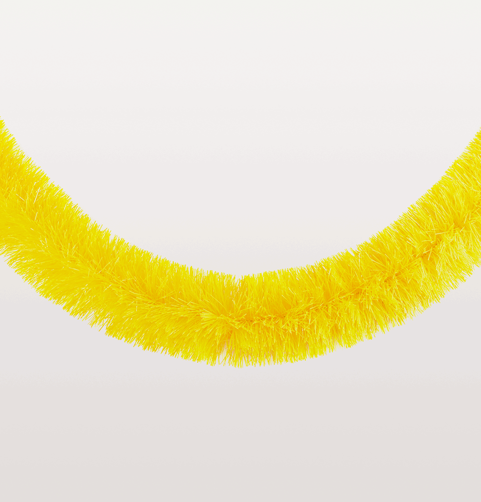 Neon yellow bright Christmas tinsel garlands