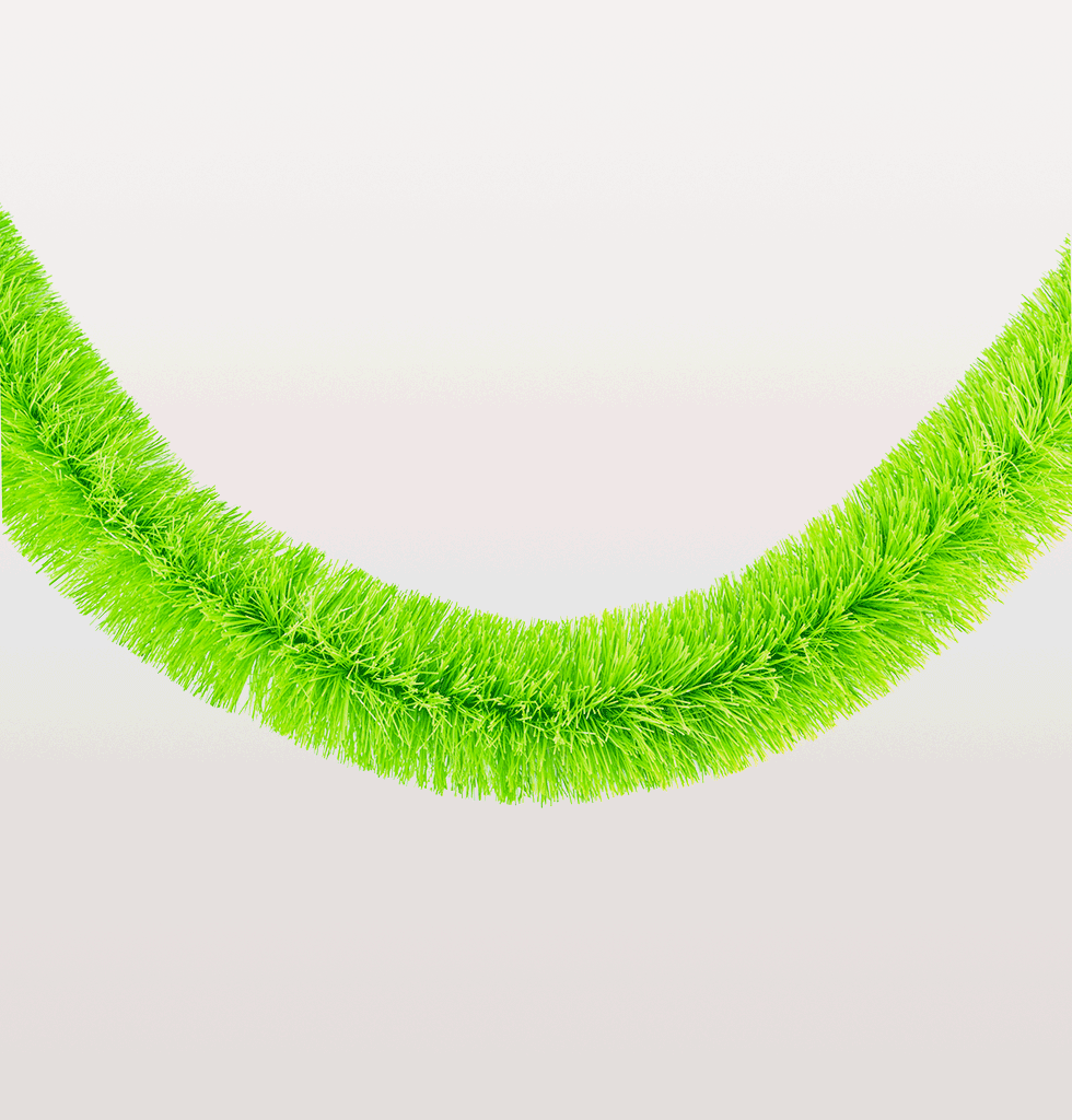 Neon Christmas green tinsel garland