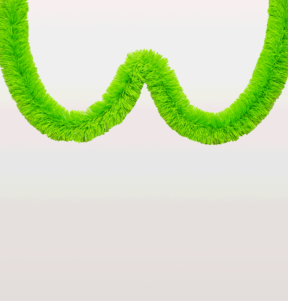 Neon green tinsel garland Christmas