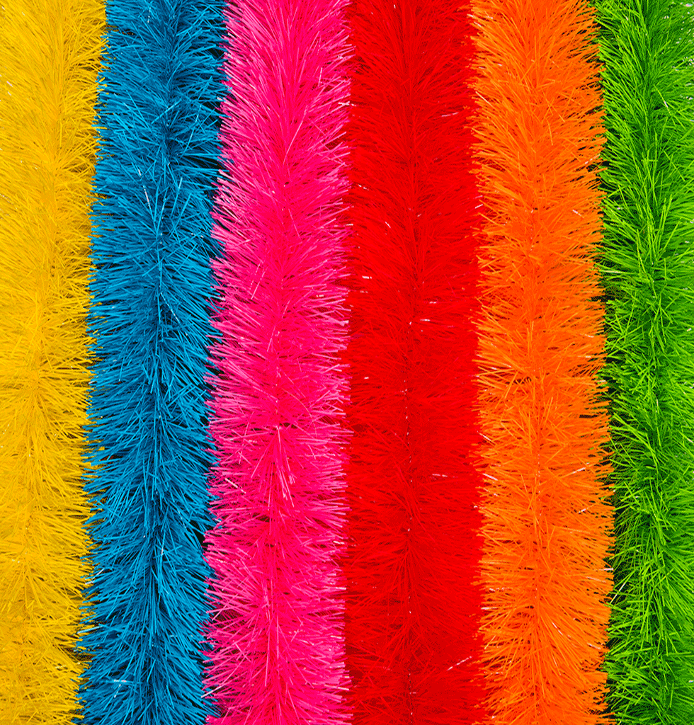 Neon Christmas tinsel garlands