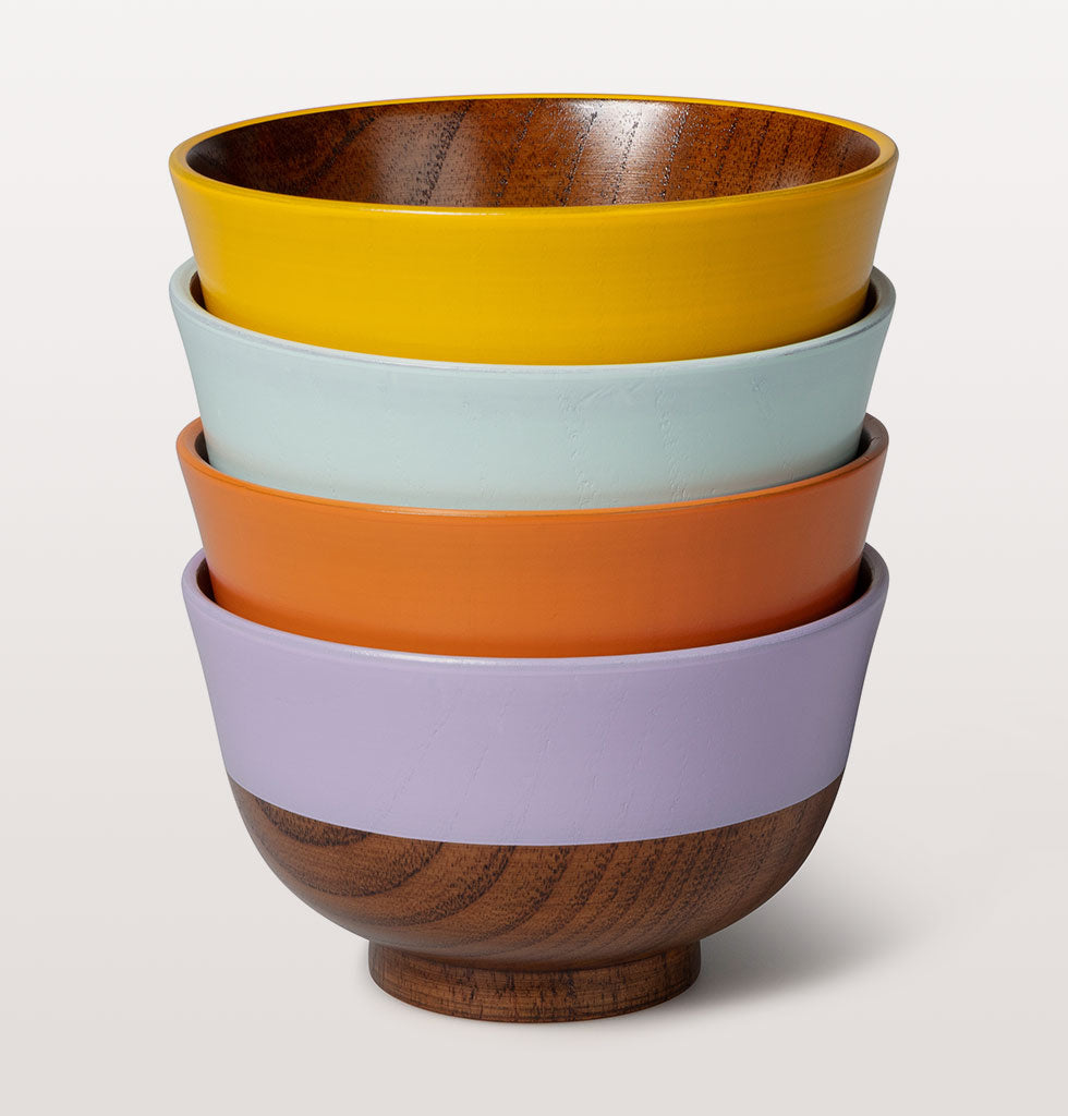 Japanese wooden soup bowl set by Kawai. £55 set of 4 coloured bowls