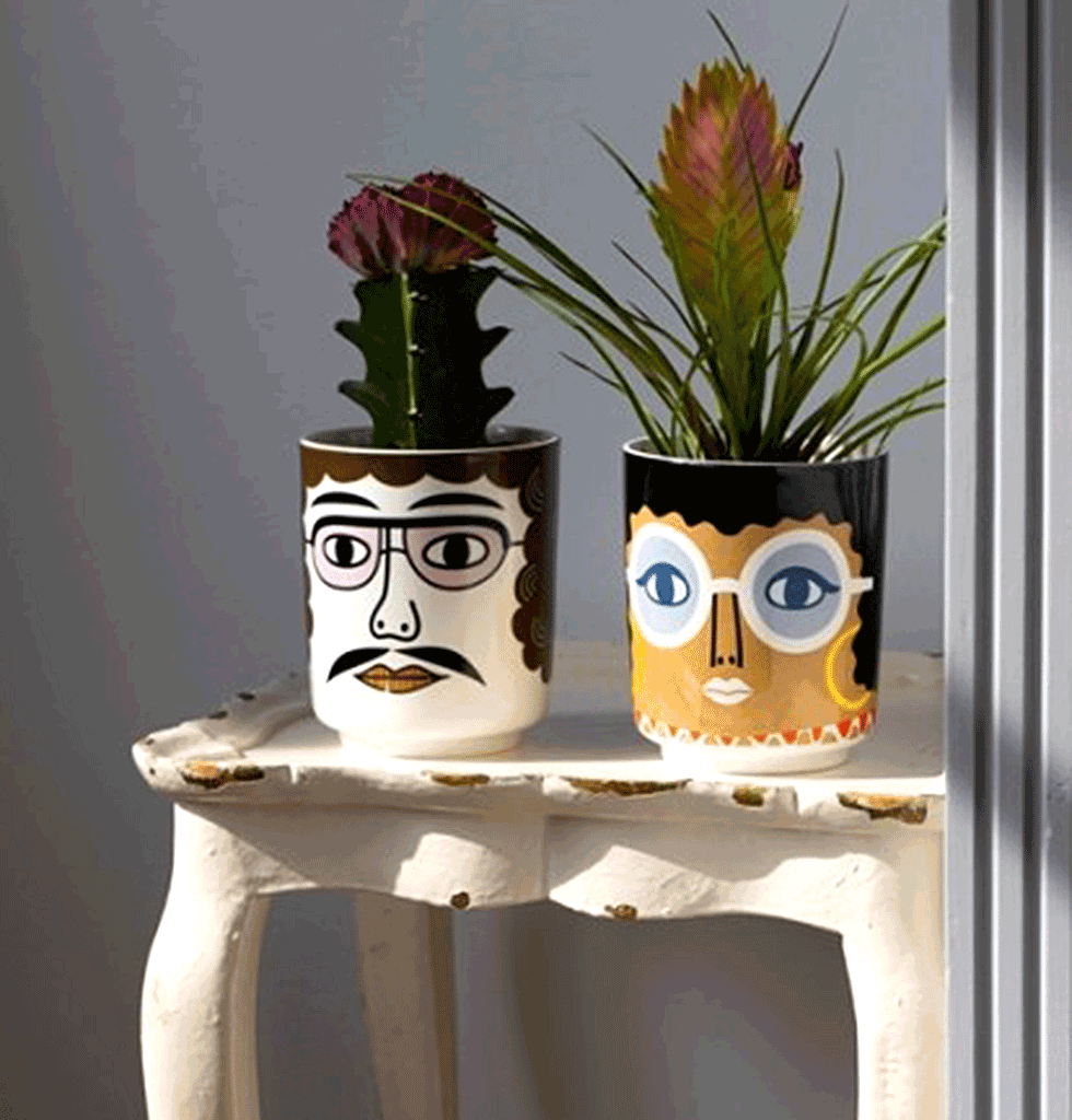 W.A.GREEN | PABLO CERAMIC FACE POT WITH GLASSES