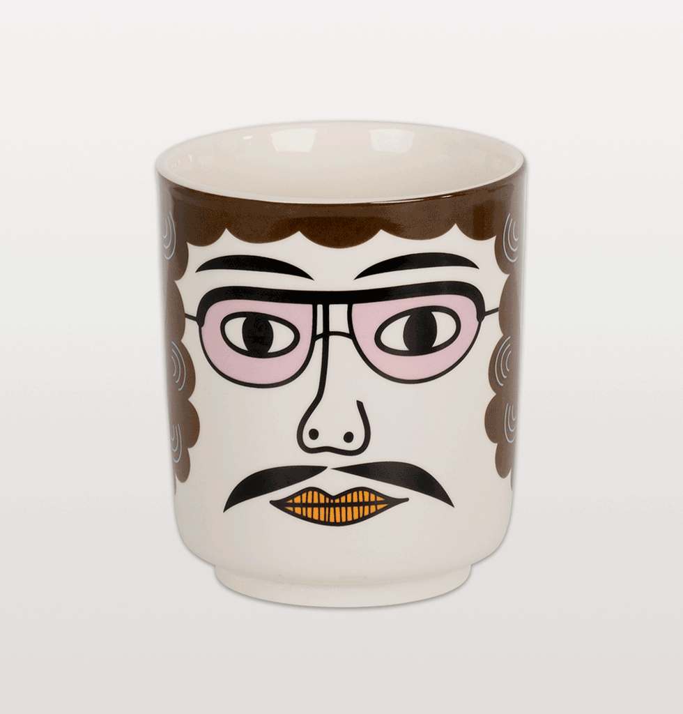 W.A.GREEN | PABLO CERAMIC FACE POT WITH PINK GLASSES KITSCH KITCHEN