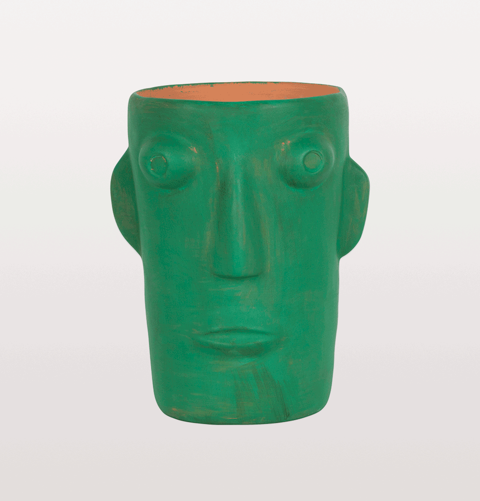 CABEZA GREEN HEAD VASE LARGE