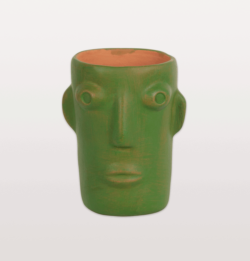 CABEZA GREEN HEAD VASE SMALL