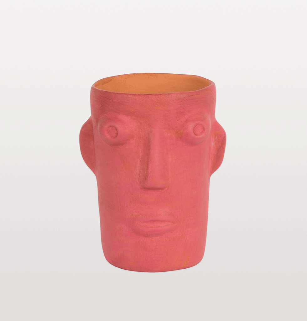 W.A.Green Cabeza head face flower vase hot pink small Kitsch Kitchen