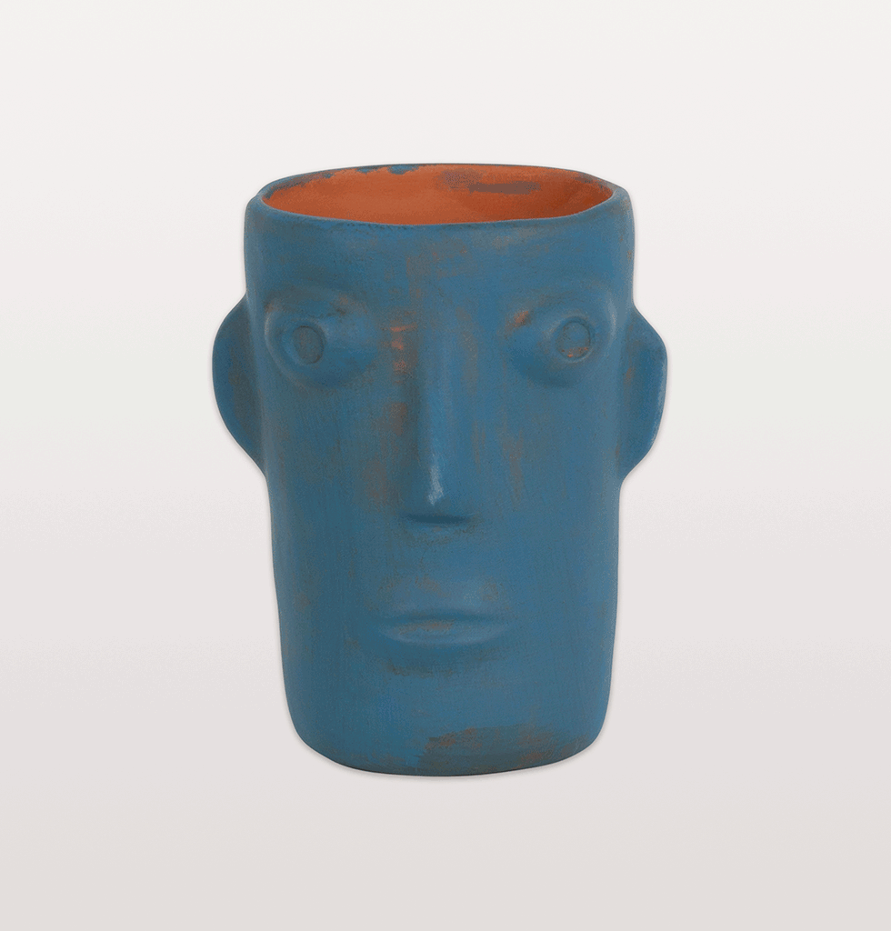 W.A.GREEN | CABEZA HOT BLUE HEAD FACE VASE SMALL KITSCH KITCHEN HDO576