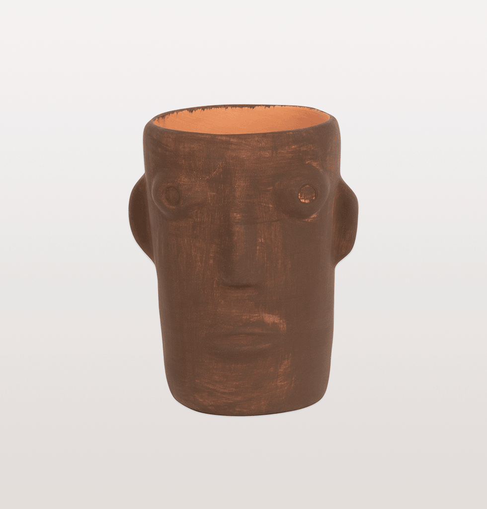 W.A.GREEN | CABEZA BROWN HEAD FACE VASE SMALL HD0578