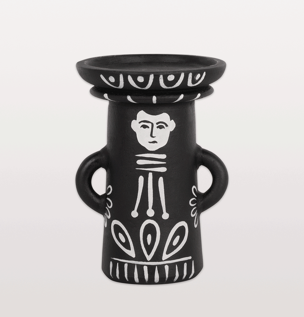 W.A.GREEN | KITSCH KITCHEN | Pedro black and white Mexican candleholder. £30 wagreen.co.uk
