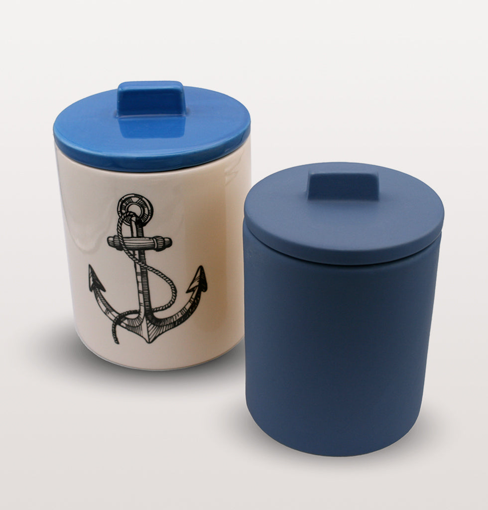 W.A.GREEN | KITSCH KITCHEN | Small retro storage jar in deep Azure blue and medium blue anchor storage jar. Perfect lidded jar in the kitchen for tea and coffee, in the bathroom for cotton wool pads or in the bedroom for hair bands, you'll love it. wagreen.co.uk