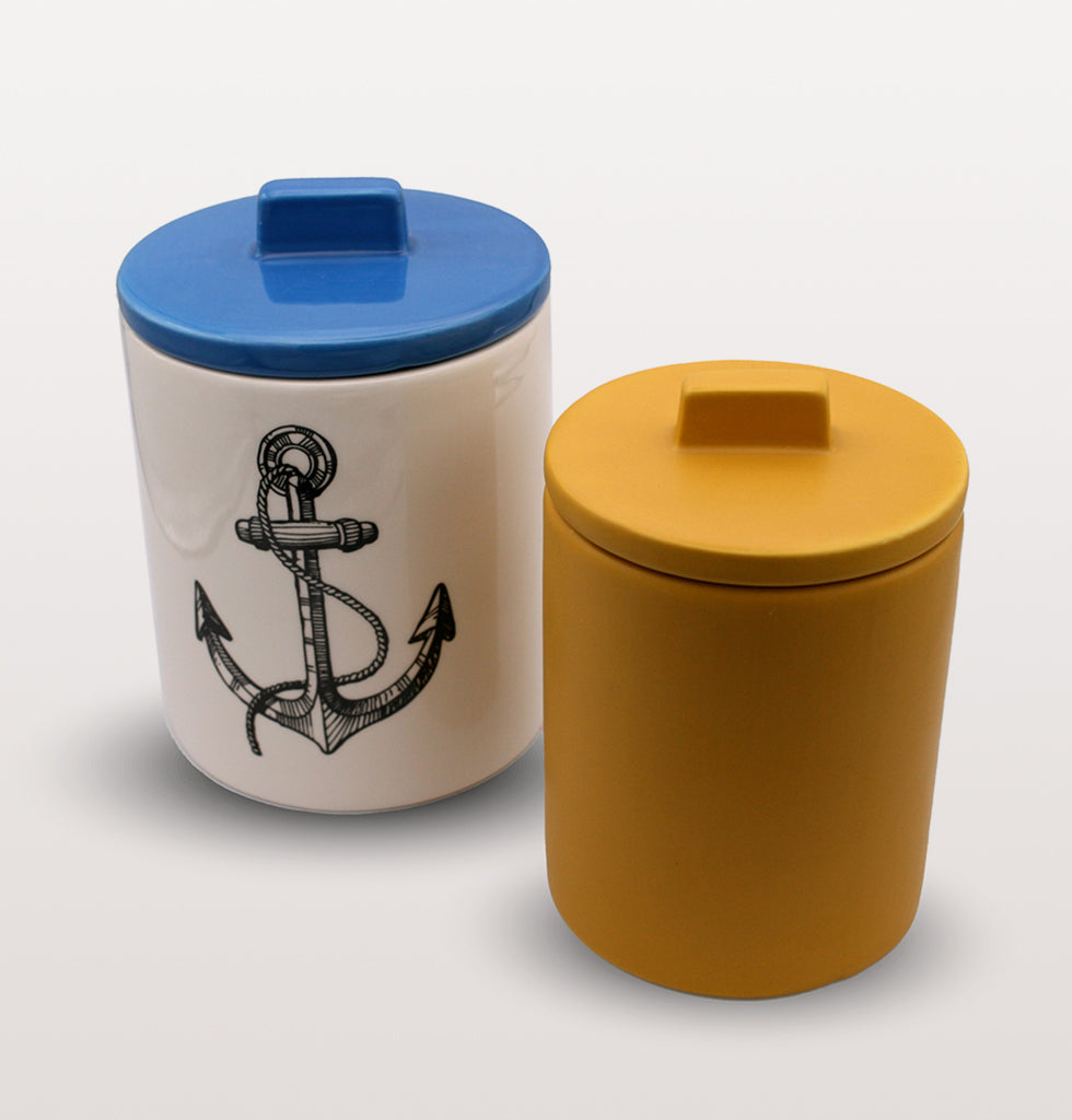 W.A.GREEN | KITSCH KITCHEN | The black and white anchor design is brought to life against the lovely bright blue lid and small yellow storage jar. Medium sized storage jar. Perfect lidded jar in the kitchen for tea and coffee, in the bathroom for cotton wool pads or in the bedroom for hair bands, you'll love it. wagreen.co.uk