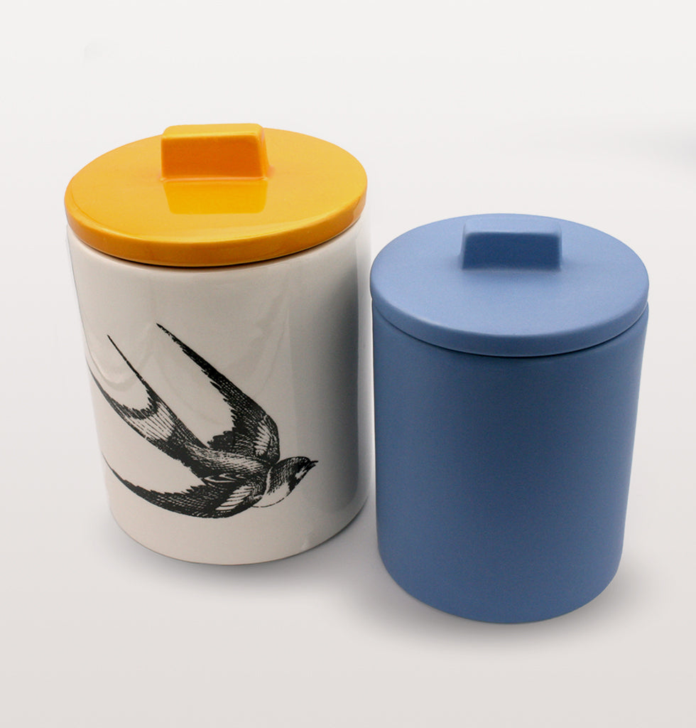 W.A.GREEN | KITSCH KITCHEN | Small retro storage jar in deep Azure blue and medium swallow yellow storage jar. Perfect lidded jar in the kitchen for tea and coffee, in the bathroom for cotton wool pads or in the bedroom for hair bands, you'll love it. wagreen.co.uk