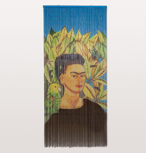 Frida and bird beaded bamboo door curtain in blue and yellow by Kitsch Kitchen from W.A.Green