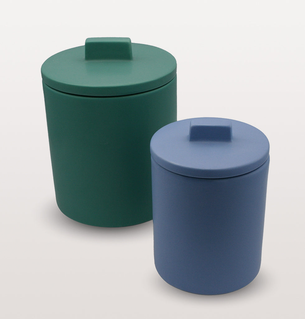 W.A.GREEN | KITSCH KITCHEN | Small retro storage jar in deep Azure blue and large green storage jar. Perfect lidded jar in the kitchen for tea and coffee, in the bathroom for cotton wool pads or in the bedroom for hair bands, you'll love it. wagreen.co.uk