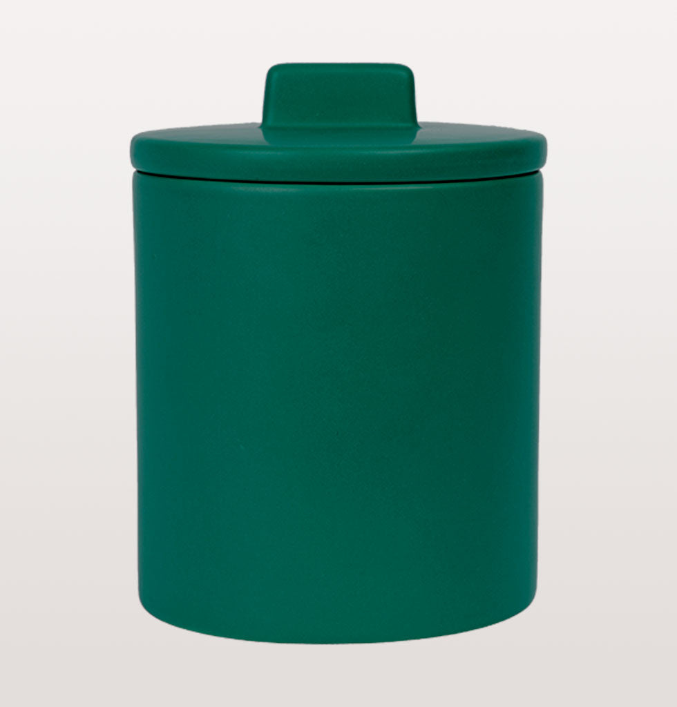 "W.A.GREEN | KITSCH KITCHEN | Large retro storage jar in a dreamy green. This generous lidded jar is at home in the kitchen for storing delicious biscuits or other treats.   W.A.Green says, ""This deep green jar will add an elegant pop of colour to your home"". £33 wagreen.co.uk"