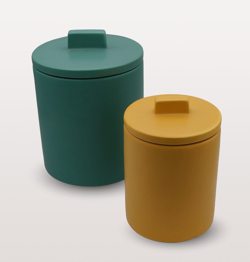 W.A.GREEN | KITSCH KITCHEN | Small retro storage jar in bright yellow and large green storage jar. Perfect lidded jar in the kitchen for tea and coffee, in the bathroom for cotton wool pads or in the bedroom for hair bands, you'll love it. wagreen.co.uk