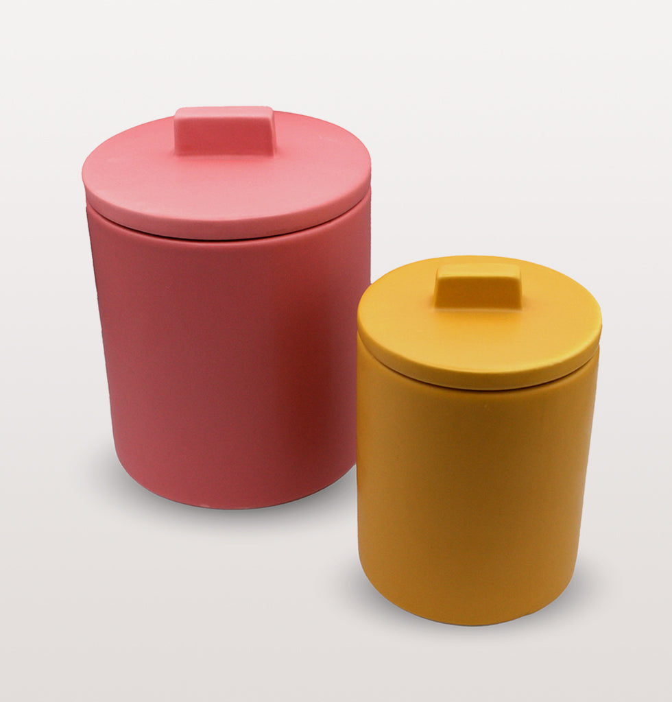 W.A.GREEN | KITSCH KITCHEN | Small retro yellow storage jar and large pink storage jar. Perfect lidded jar in the kitchen for tea and coffee, in the bathroom for cotton wool pads or in the bedroom for hair bands, you'll love it. wagreen.co.uk