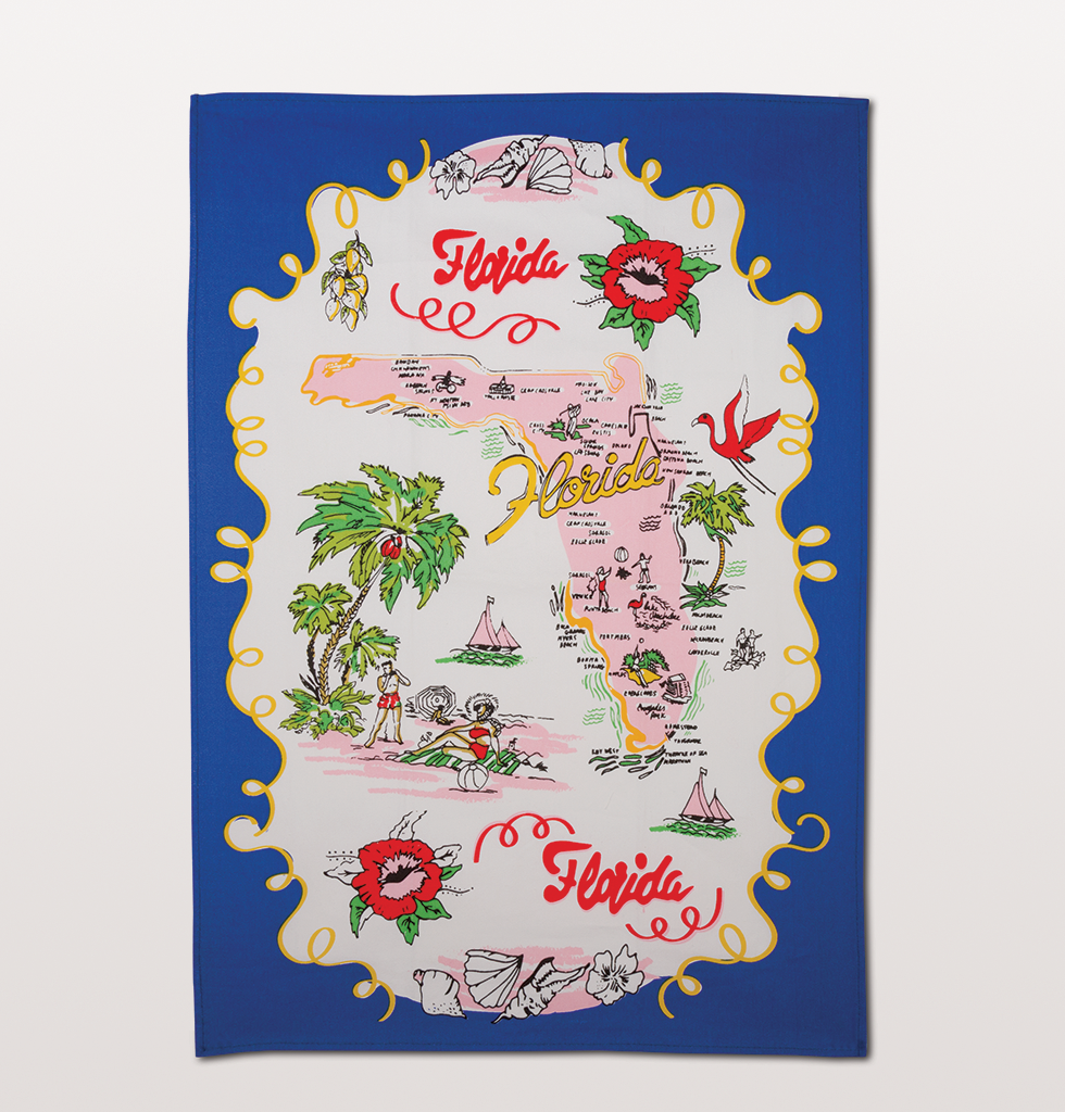 FLORIDA MAP BLUE TEA TOWEL
