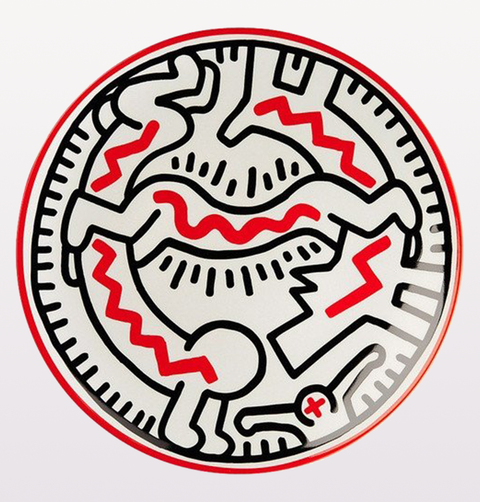 KEITH HARING MAN DOG PLATE