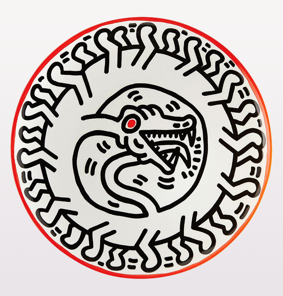 KEITH HARING SNAKE SERPENT PLATE