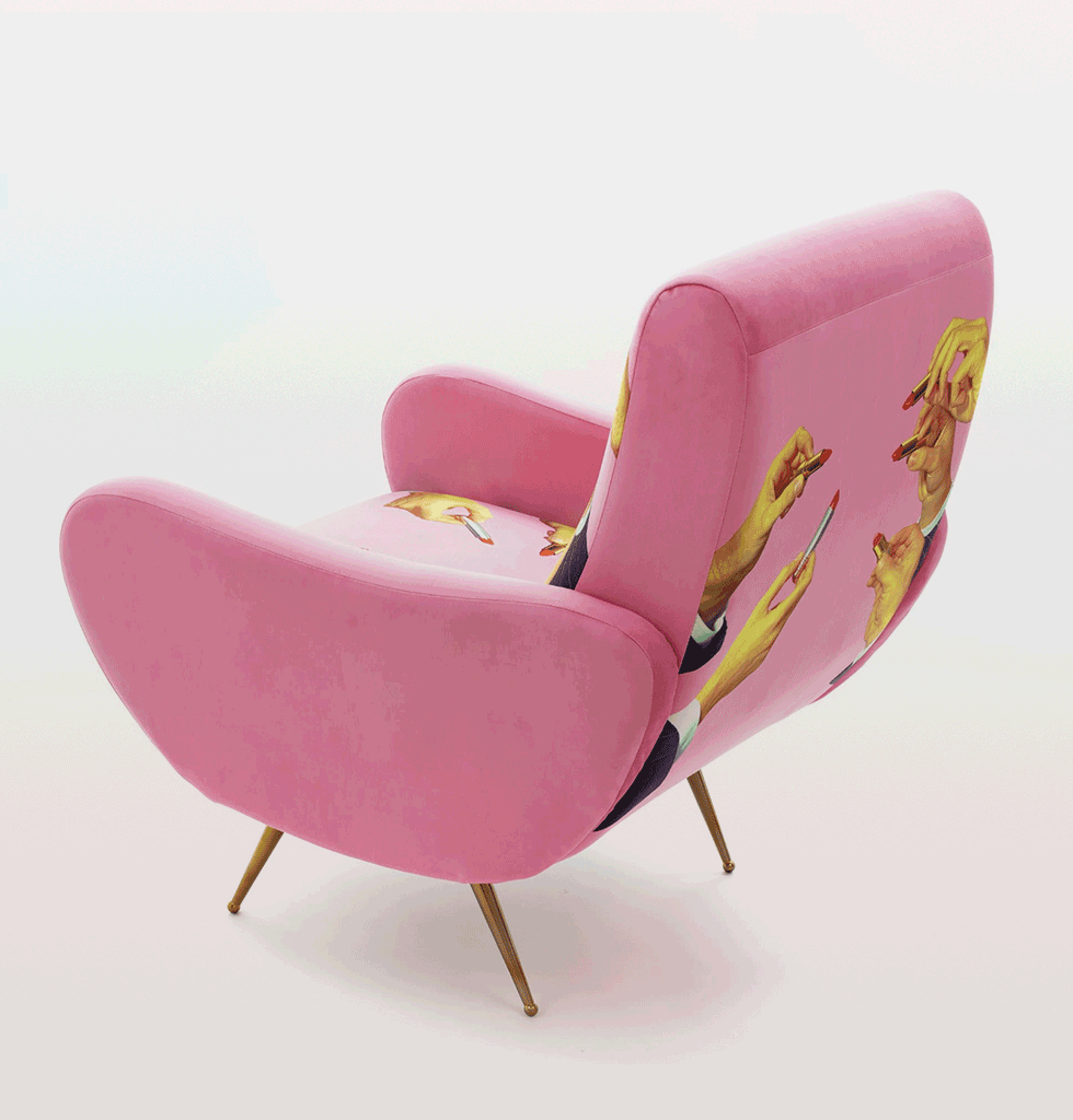 Pink velvet lipsticks armchair by Toiletpaper for Seletti