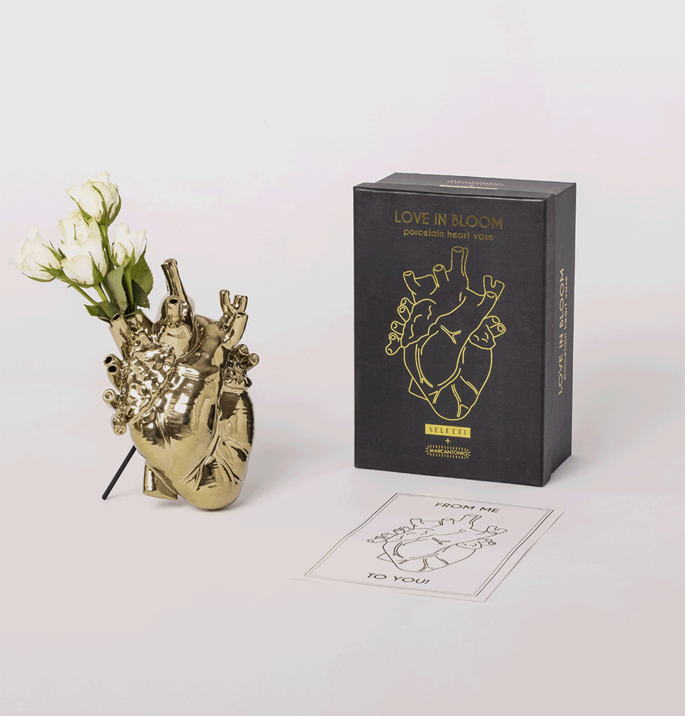 Love in Bloom Gold porcelain heart vase Seletti with gift box