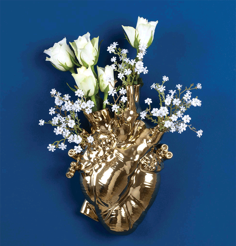 Love in Bloom Gold porcelain heart vase Seletti