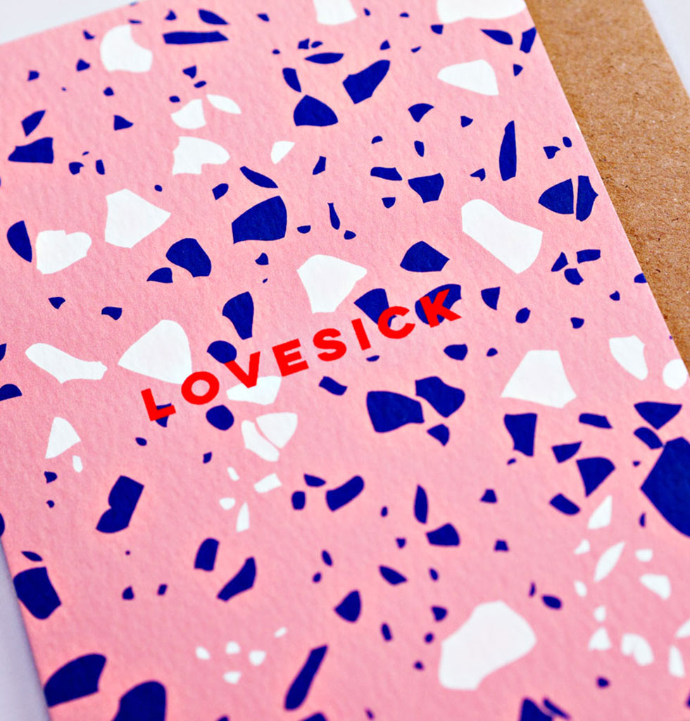 The Completist lovesick terrazzo card. £3.50 wagreen.co.uk