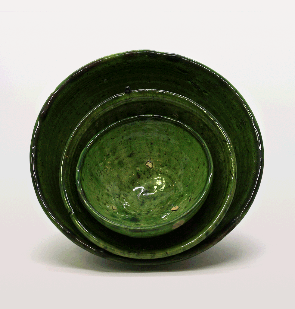 Large Moroccan green salad bowl with meze bowls