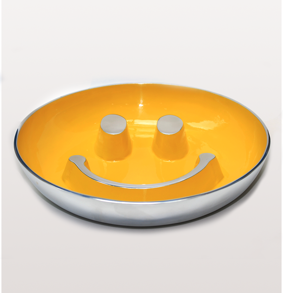 Acid house yellow smiley big popcorn dish