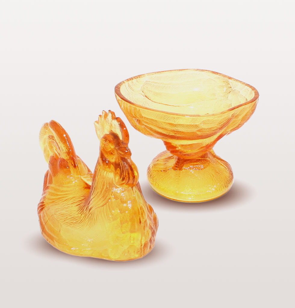 Le Coq, Amber gold glass chicken box. £75 wagreen.co.uk