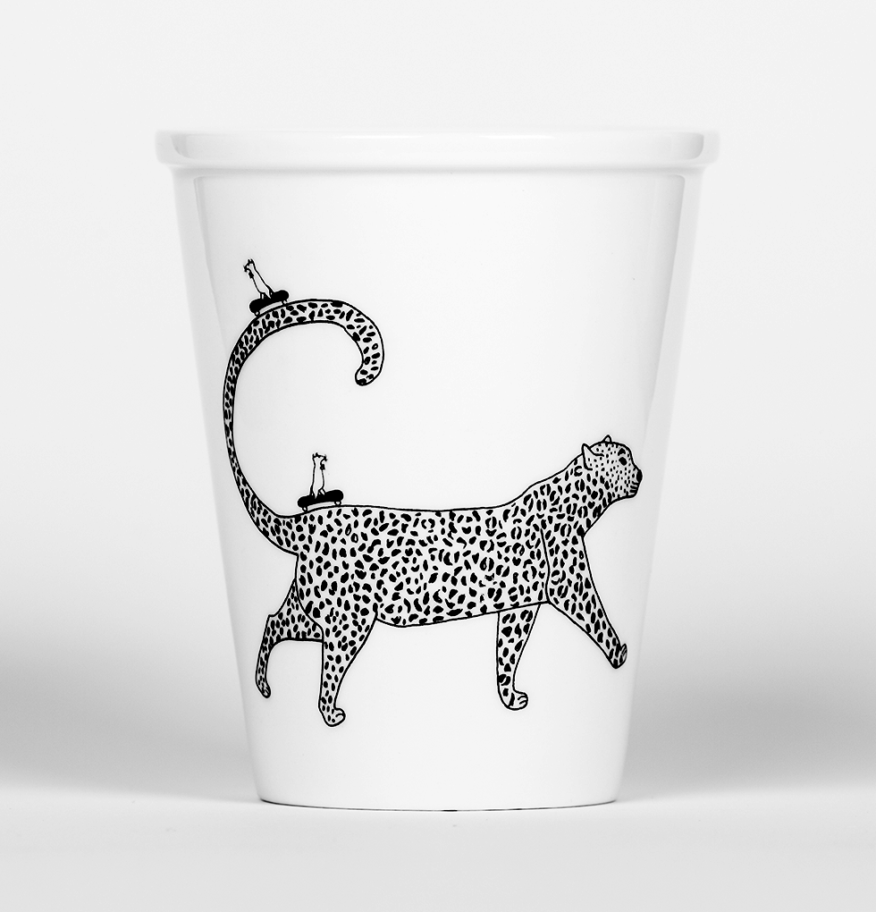 Jungle leopard cat cup by Helen B