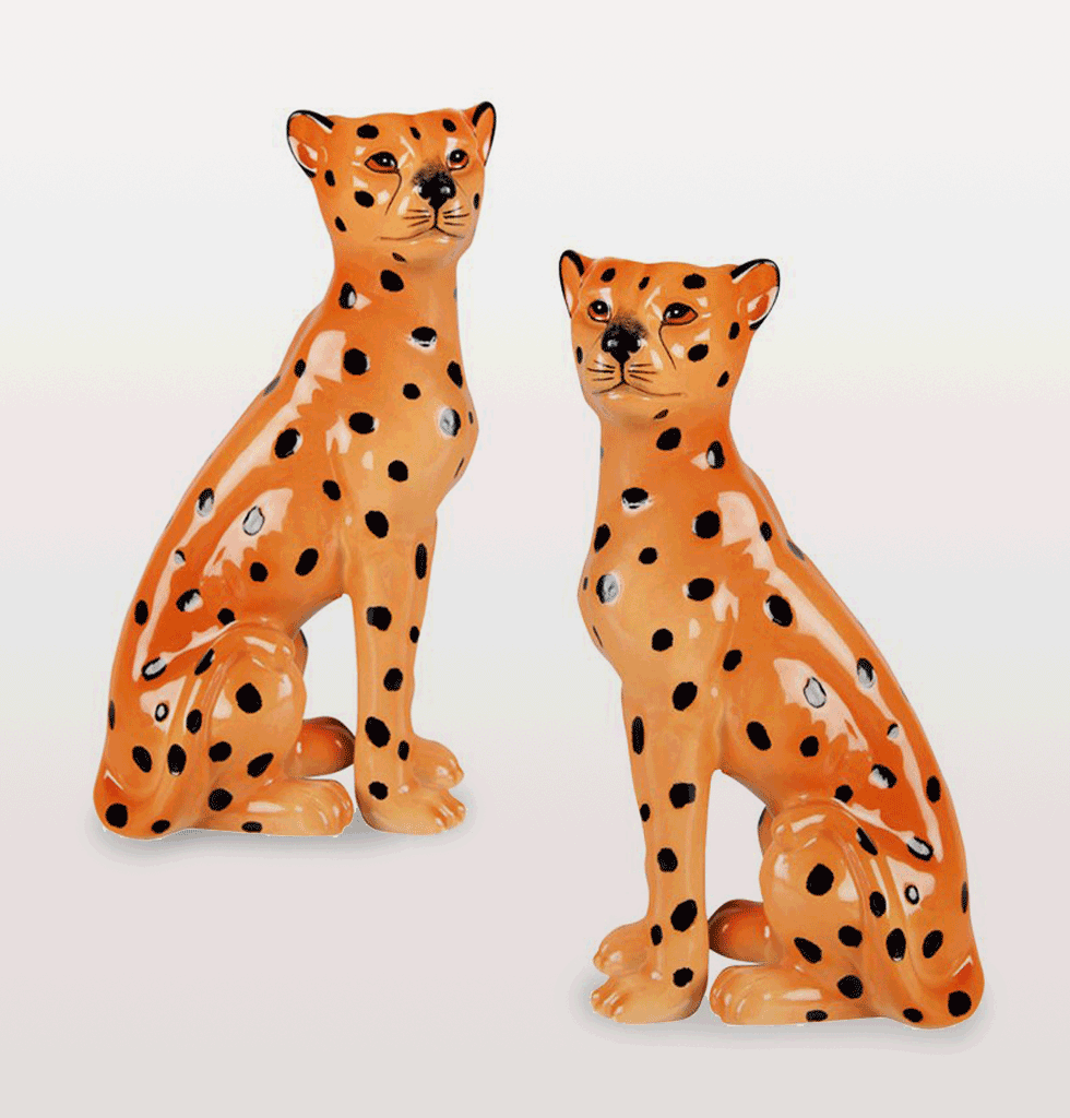 Leopard jungle cat candle holders &K ceramic orange black