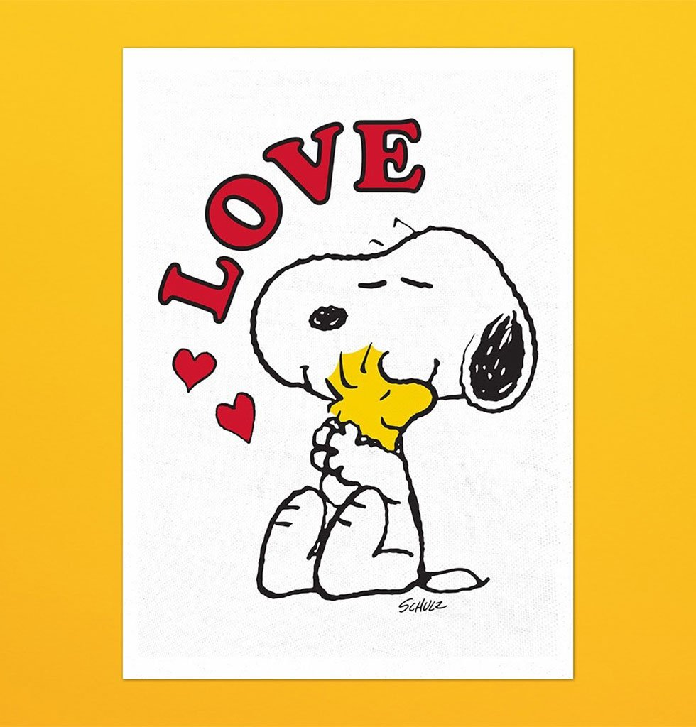 Snoopy Peanuts cartoon tea towel. Love character dish towel for kitchen