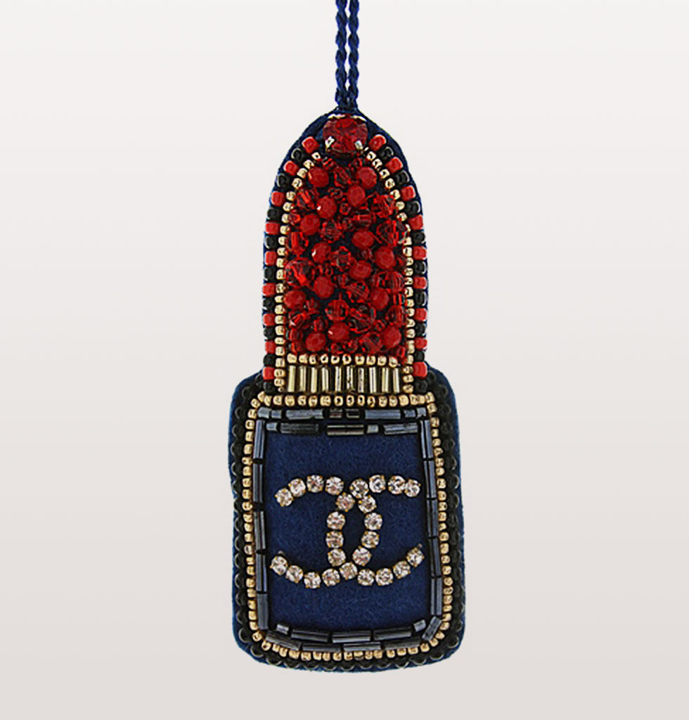 Chanel inspired jewelled lipstick tree decoration. This coveted lipstick will add festive glamour to your tree.