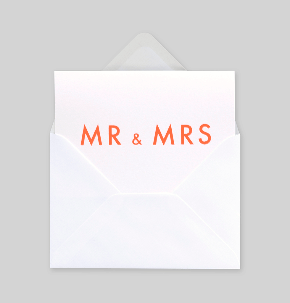 MR AND MRS NEON WEDDING CARD BY OLA STUDIO. £3 wagreen.co.uk