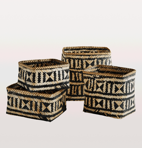 Set of 4 black and natural bamboo baskets