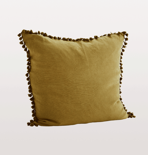 bronze gold linen cushion with tassels by Madam Stoltz