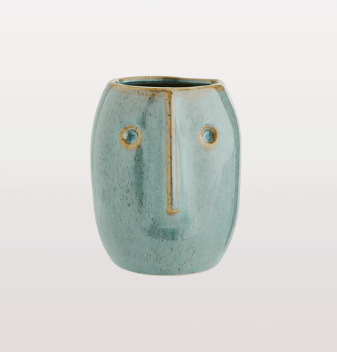 Madam Stoltz turquoise green face pot
