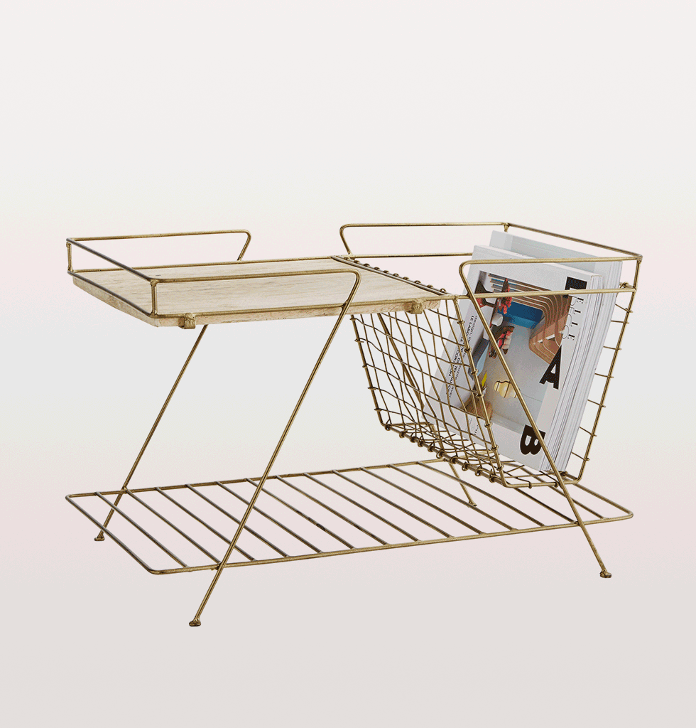Brass magazine rack side table Madam Stoltz