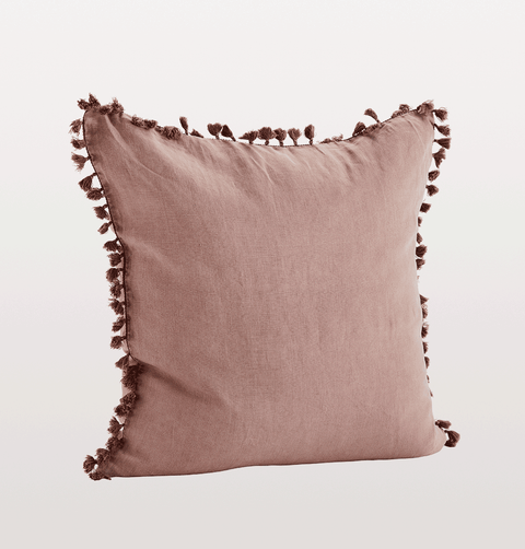 Rose pink linen cushion with tassels