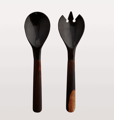 WOODEN SALAD SERVING SPOONS WITH HORN HANDLES