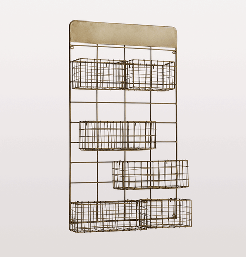 Brass wire wall frame with six adjustable baskets by Madam Stoltz