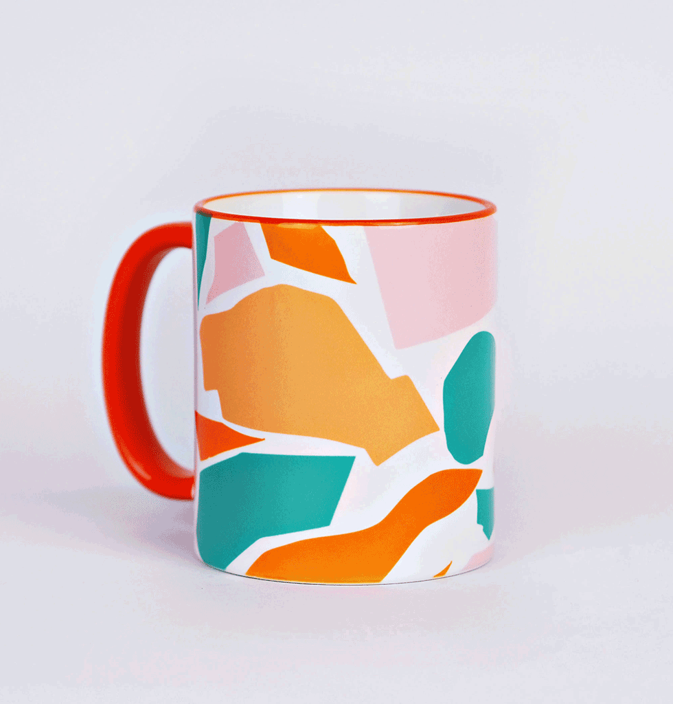 Cut out shapes multi coloured tea or coffee mug The Completist