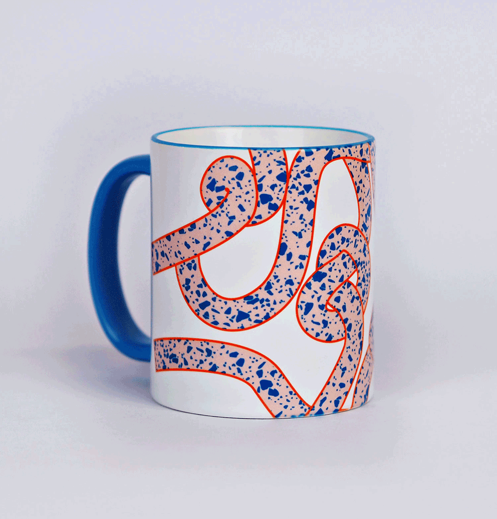 The Completist Graphic Design Mug pink and blue rope