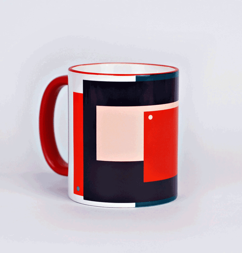 graphic print red and blue tea or coffee mug The Completist
