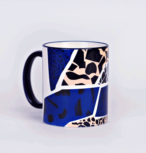 Pink and blue graphic design mug the completist tea coffee mug