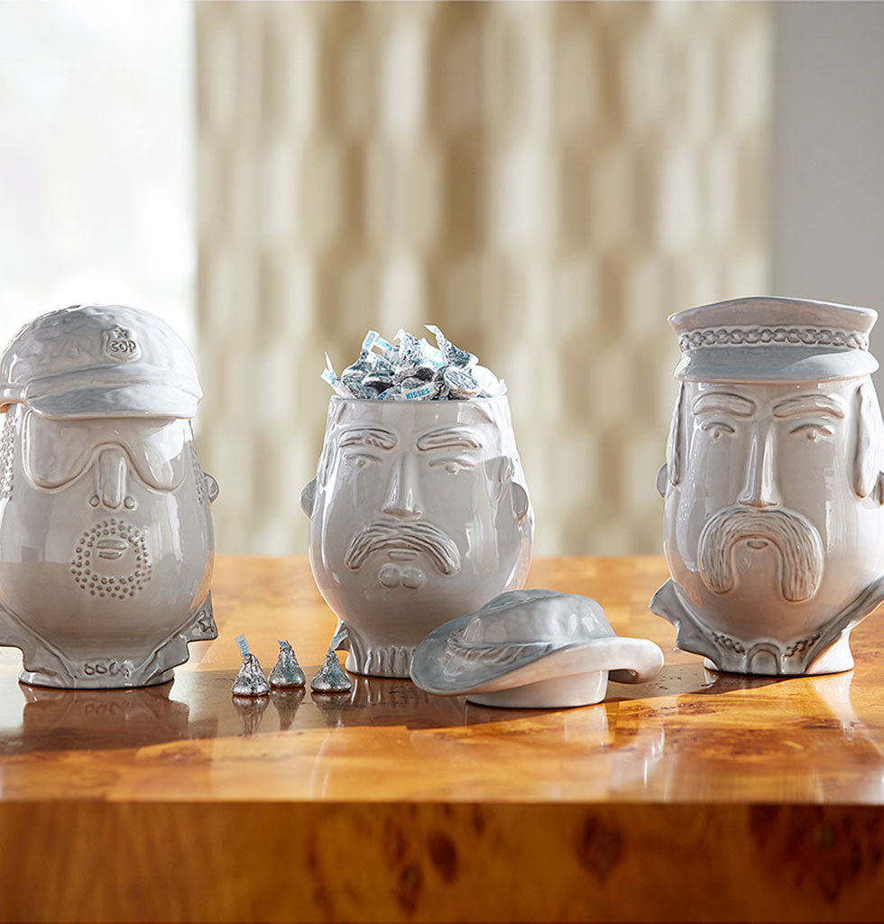 Macho Cop, Cowboy and Biker YMCA Village People inspired white ceramic kitchen jar canister. Jonathan Adler Utopia collection